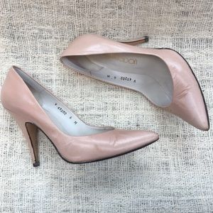 Vintage 1980's Frosted Pink Pumps- Made in Spain